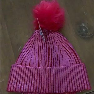 NWT girls pink shimmery hat with Pom